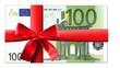 Leinwanddruck Bild - 100 Euro Schein mit roter Schleife