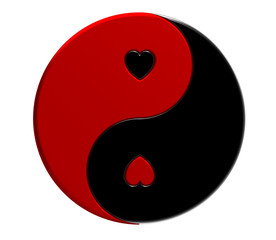 Yin-yang with hearts