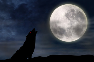 Wolf howling at full moon