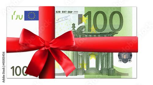 Leinwanddruck Bild 100 Euro Schein mit roter Schleife
