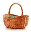 Empty Wicker Basket Isolated O...