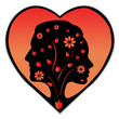 Couple silhouette in a heart, black and red colours