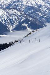 Деревянные колья на заснеженном склоне горы
