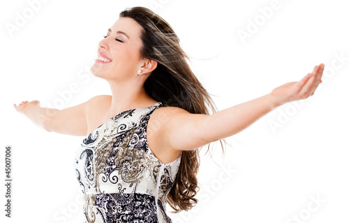 Elegant woman enjoying her freedom
