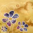 granatowe kwiaty na beżowym tle