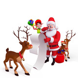 santa with big list, reindeer and elves