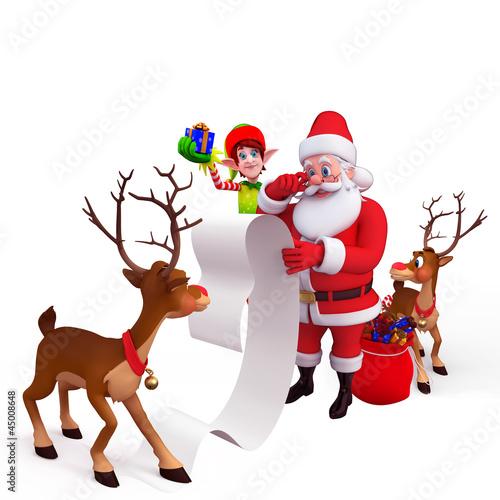 santa with big list, reindeer and elves
