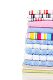 Colorful kitchen towels on white background close-up