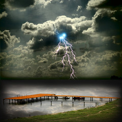Boat station on the beautiful storm with lightnings