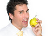 Business Man - Eating a Pear