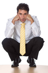 Business Man - Sitting and Thinking