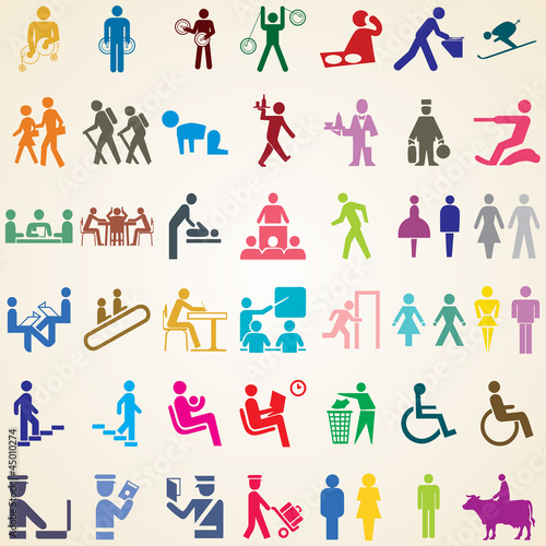 People icons vector, set of various pictogram