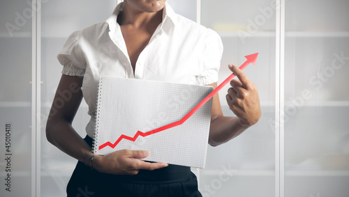 Businesswoman helps statistics