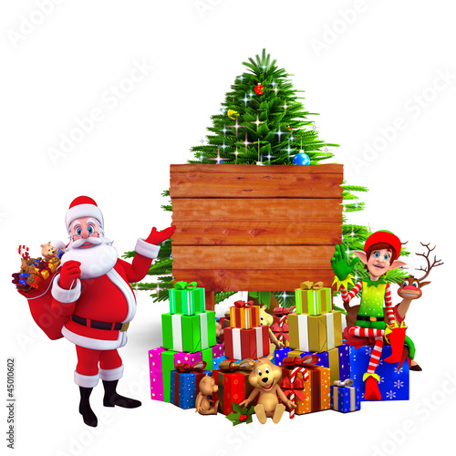 santa with many gifts pointing towards wooden sign