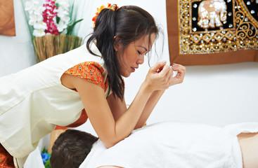 Traditional thai massage health care back kneading