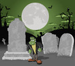 Halloween cemetery with tombs and funny cartoon frankenstein