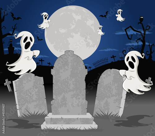 Halloween cemetery with tombs and cartoon ghost character