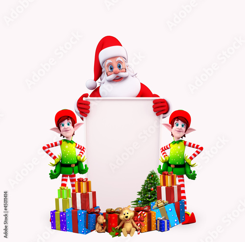 santa with sign and two elves
