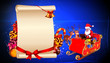 santa in sleigh with sign on blue background