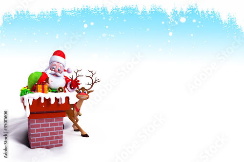 santa coming from chimney with iceland