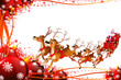 reindeer sleigh with red background