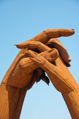 Clasping hands at Gretna Green, Scotland
