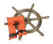 Brass Ship Wheel and Life Vest