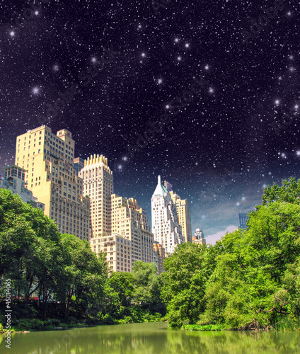 New York City - Manhattan Skyscrapers from Central Park with Tre