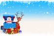 snow man is coming out of gift box with blue background