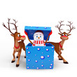 reindeers are playing around snow man