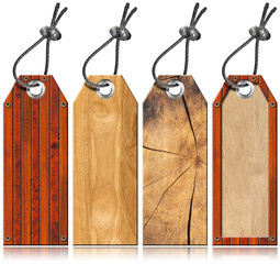 Set of Wooden Tags - 4 items