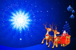 santa inside sleigh with blue background