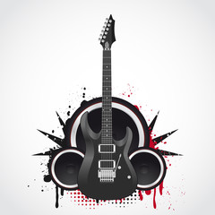 Electric guitar on a grunge background