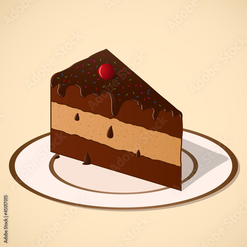Piece of chocolate cake on a dish