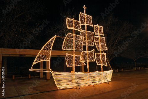 Christmas ship at night, in Greece