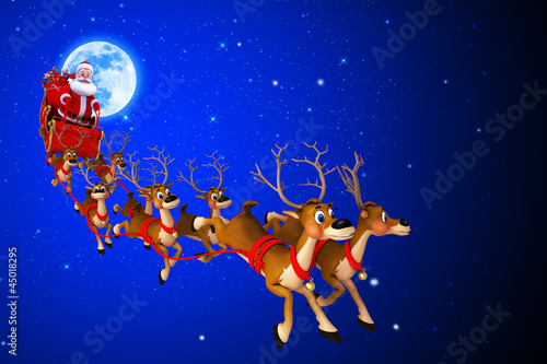 santa with his sleigh coming from moon