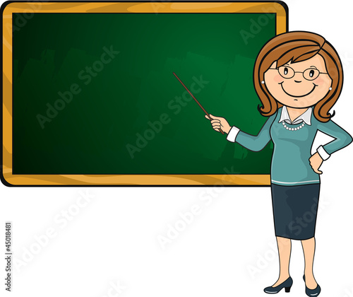 Teacher and blackboard