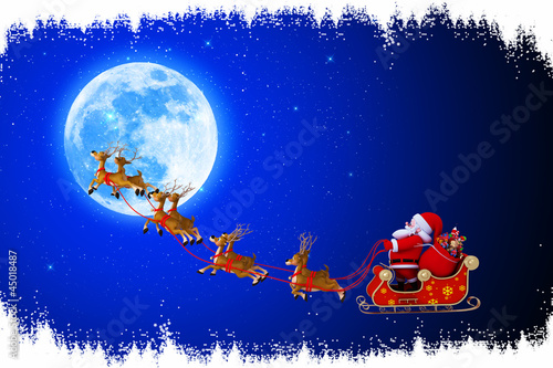 santa and his sleigh running towards moon