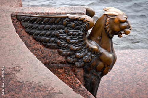 Griffin - bronze winged lion staue. St.Petersburg, Russia