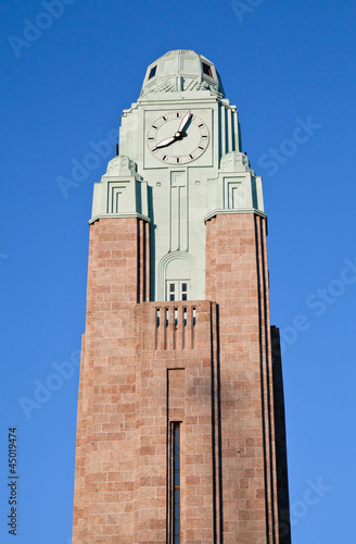 Clock tower of Helsinki central railway station.