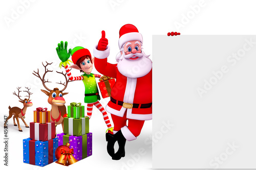santa claus and elves with reindeer and big sign
