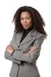 Confident afro businesswoman in suit