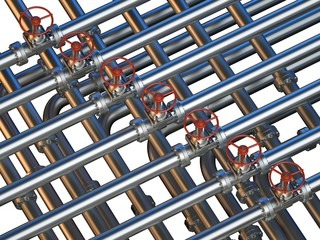 Conceptual image - interlocking pipes with valves