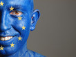 Man with his face painted with the flag of European Union (3)