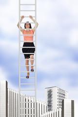 Woman climbs up the ladder