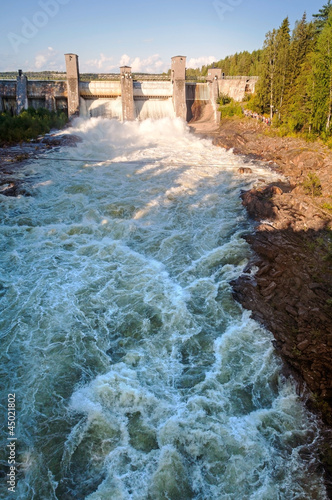 Spillway on hydroelectric power station in Imatra, Finland - 45021802