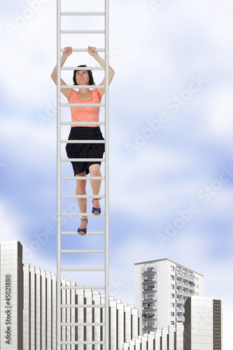 Woman climbs up the ladder