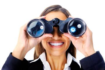 binocular business woman