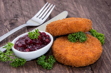 Fried Camenbert with Cranberry Sauce