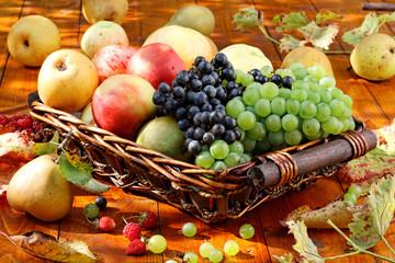 Basket of ripe fruits.